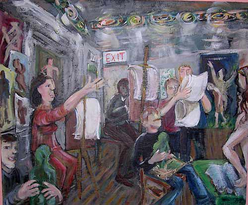 Models Painting - Art Class by Barbara Yalof