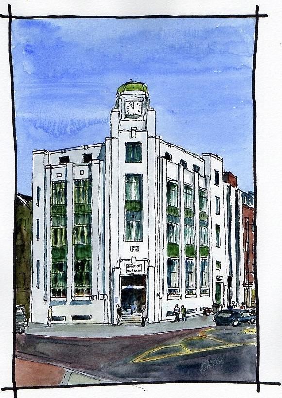 Art Deco Hoekbank.Art Deco Bank Belfast