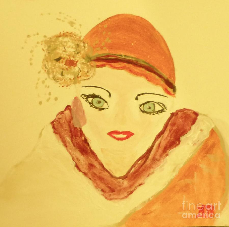 Art Deco Painting - Art Deco Girl In The Red Hat by Marie Bulger