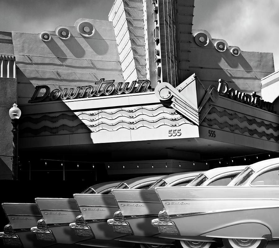 Art Deco Digital Art - Art Deco Movie Theatre And Chevrolet Belair by Larry Butterworth