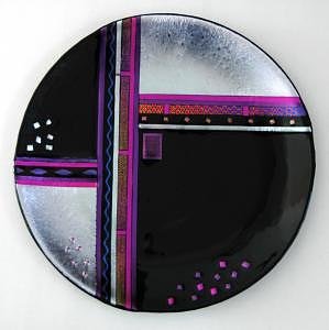 16 Platter With Dichroic Silver Glass Art - Art Deco Silver by Nancy Bonig