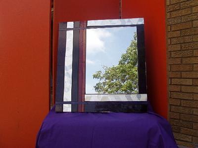 Black Glass Art - Art Deco Striped Mirror by Shelly Bird