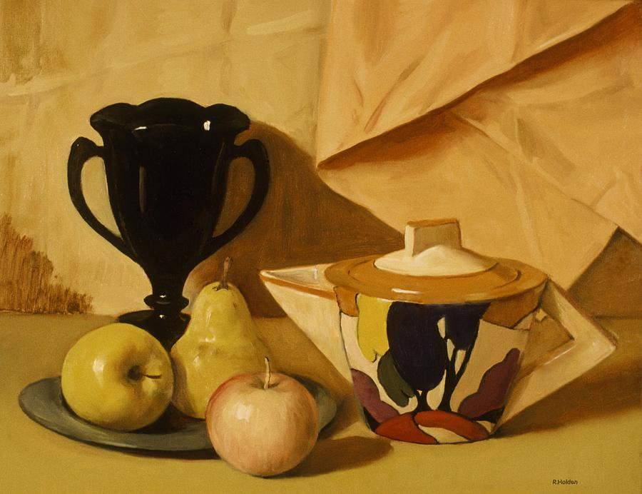 Art Deco Teapot Black Milk Glass Vase And Fruit Painting By Robert