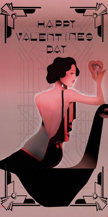 Card Digital Art - Art Deco Valentine Greeting by Jeff Burgess