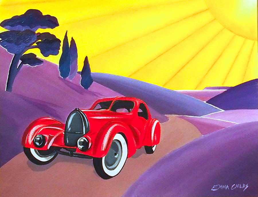 art deco vintage car painting by emma childs. Black Bedroom Furniture Sets. Home Design Ideas