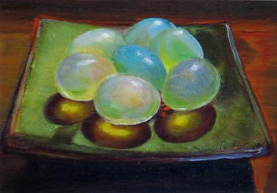 Art Glass Eggs Painting by Jeanie Chadwick