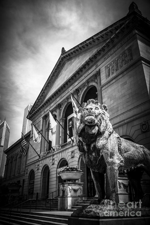 America Photograph - Art Institute Of Chicago Lion Statue In Black And White by Paul Velgos