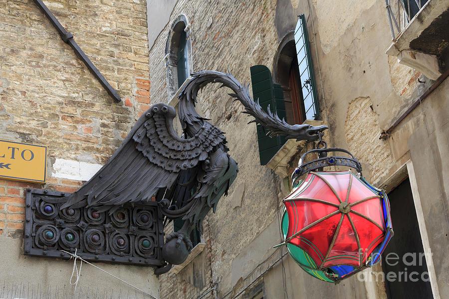Umbrellas Photograph - Art Nouveau Dragon In Marzaria Venice Italy by Louise Heusinkveld