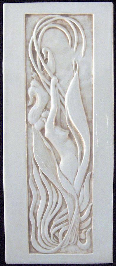 Tile Sculpture - Art Nouveau Lily Woman by Shannon Gresham