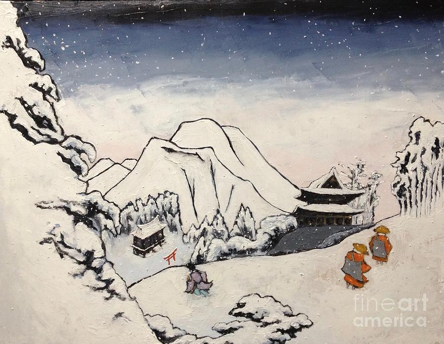 Japanese Artist Painting - Art of Buddhism and Shintoism and Two Paths in the snow by Sawako Utsumi