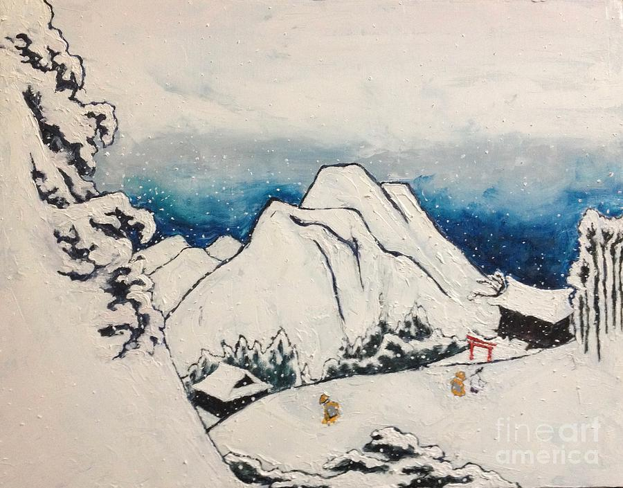 Japanese Artist Painting - Art Of Japan And The Two Paths Of Shintoism And Buddhism - Holy Men In The Snow Without Abraham by Sawako Utsumi