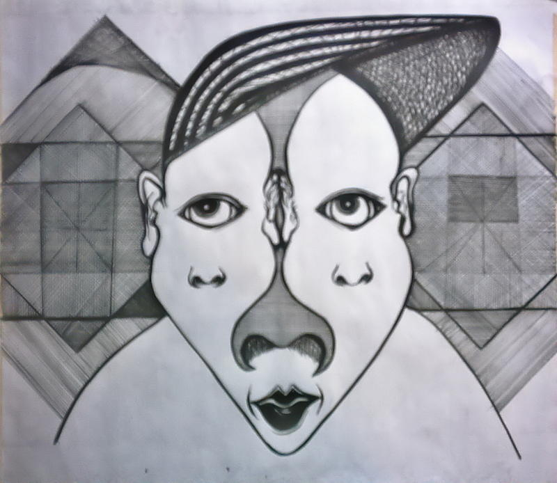 Art Of The Three Face Drawing by Darnillious Von Neegro