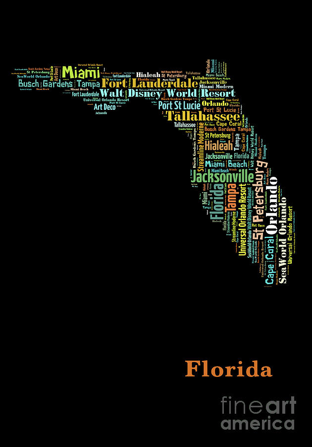 Universal Florida Map.Art Print Pop Art Florida Map Modern Style Country Map Country