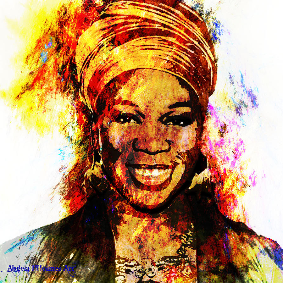 Art Tribute To India Arie Painting By Angela Holmes