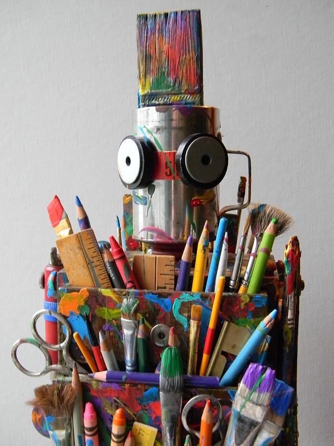 Robot Mixed Media - Art Warrior by Jen Hardwick