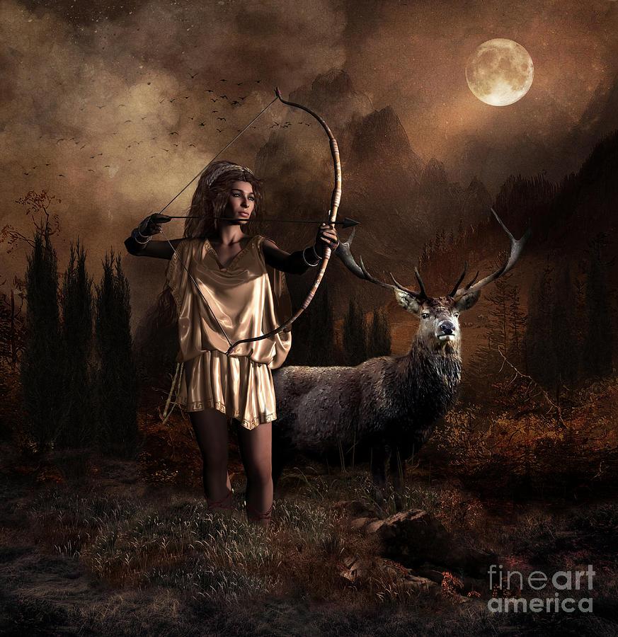 Artemis Digital Art - Artemis Goddess Of The Hunt by Shanina Conway