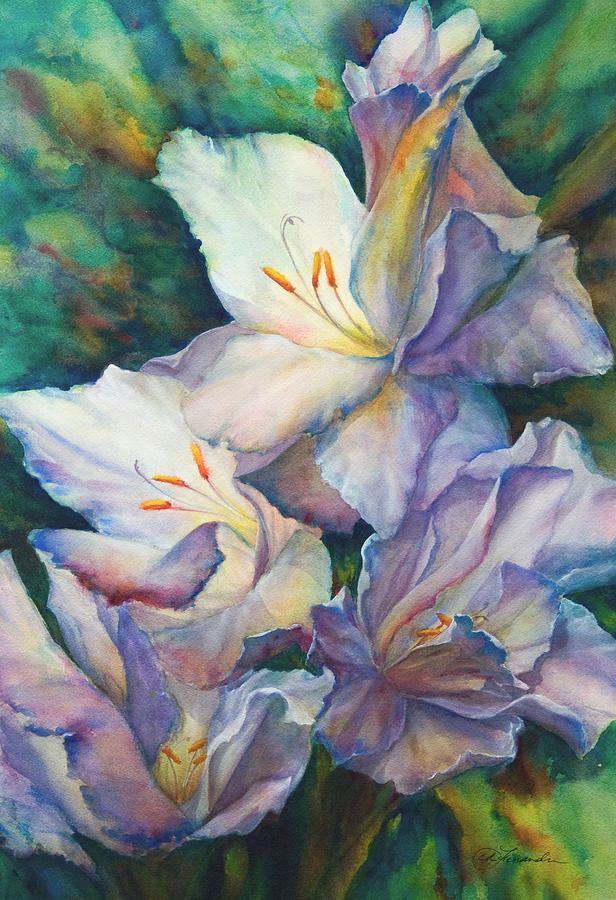 Watercolor Painting - Artesian Gladiolas by Candace D Fenander