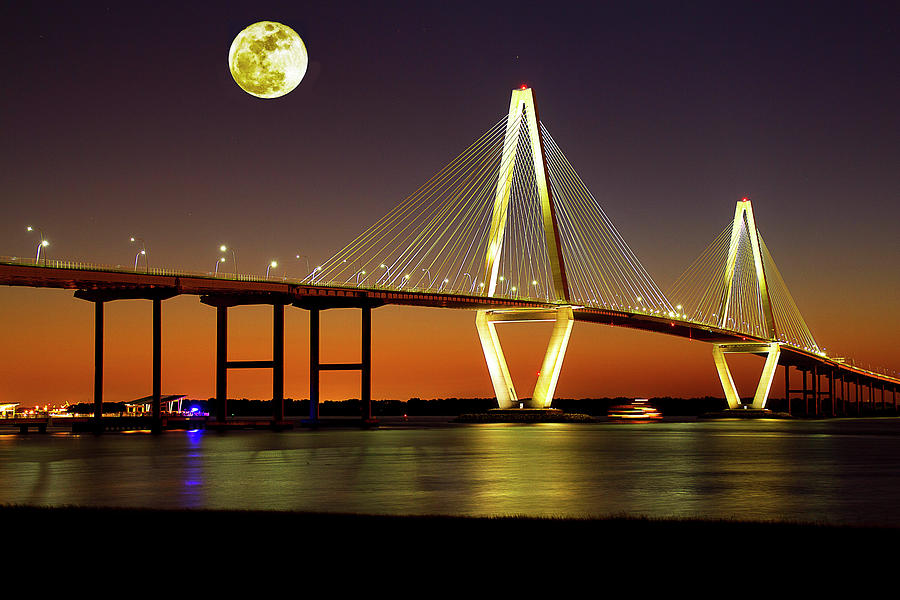 Arthur Ravenel Bridge at Night by Bill Barber