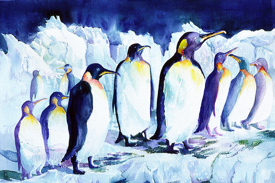 Penquins Painting - Arctic Penquins by Connie Williams