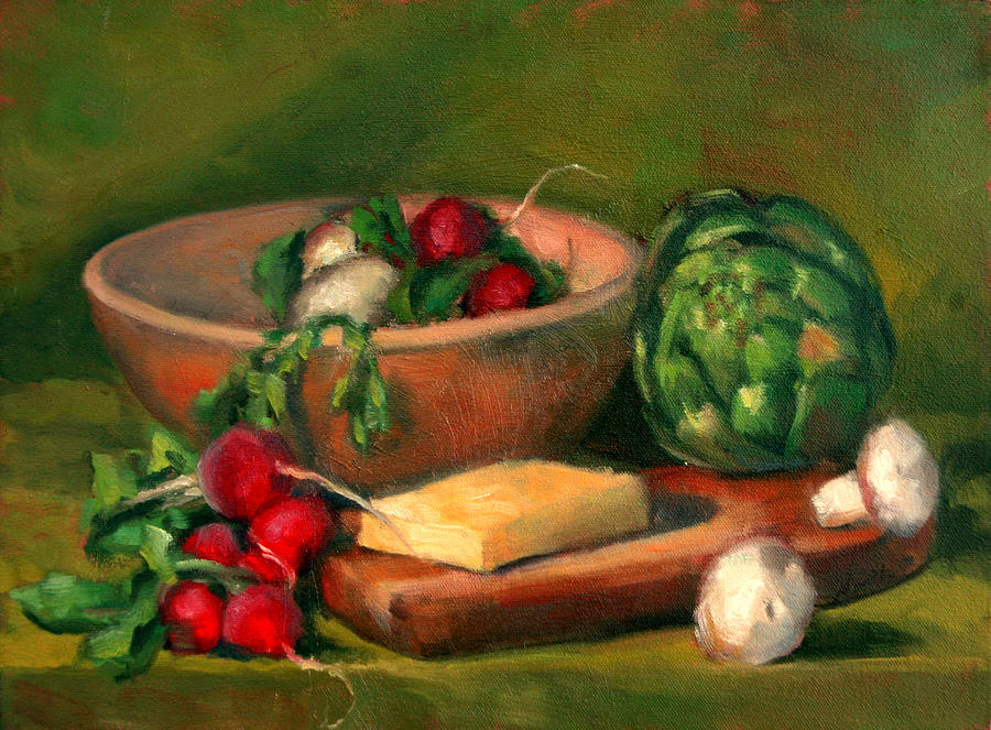Still Life Painting - Artichoke And Radishes by Athena Mantle