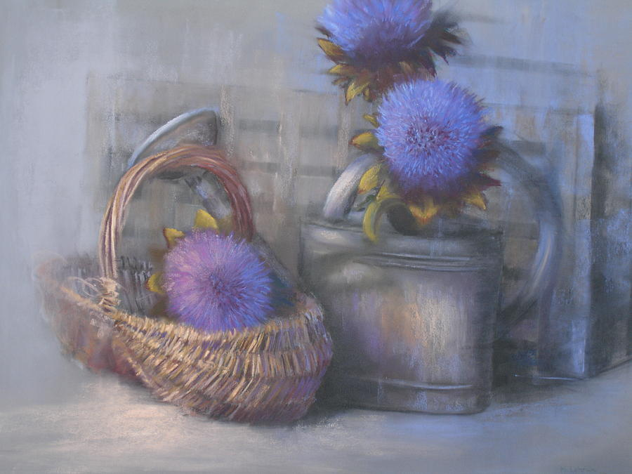 Flowers Painting - Artichoke Flowers by Maruska Lebrun