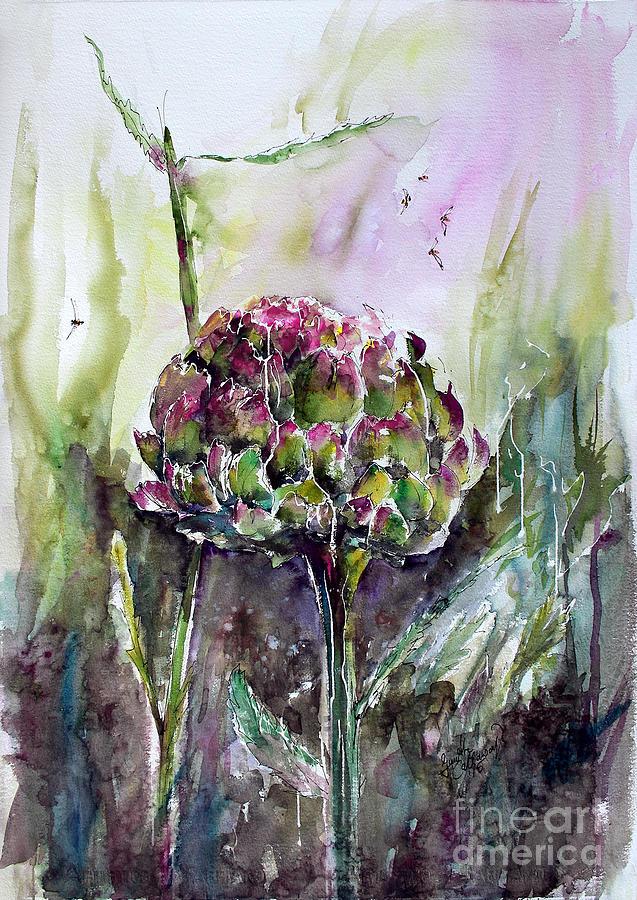 Artichoke Original Artwork Watercolor and Ink Painting