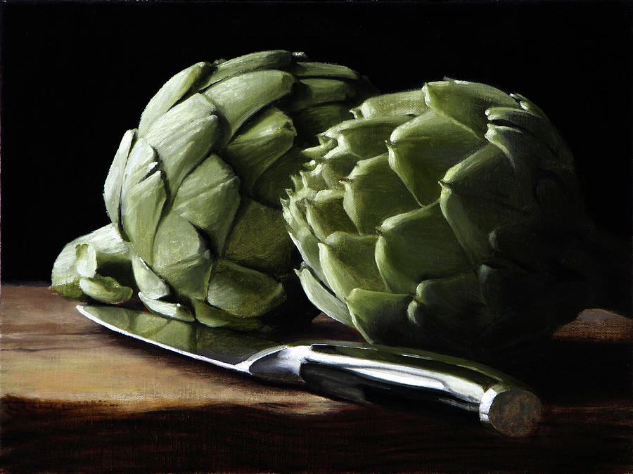 Artichokes Painting - Artichokes And Knife by Michael Lynn Adams