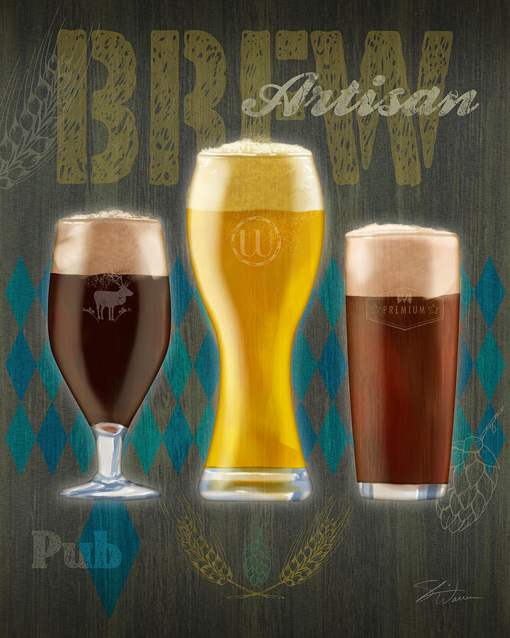 Craft Beer Mixed Media - Artisan Brew by Shari Warren