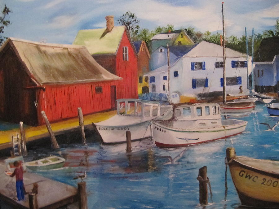 Red Painting - Artist In New England Dock by Gloria Condon