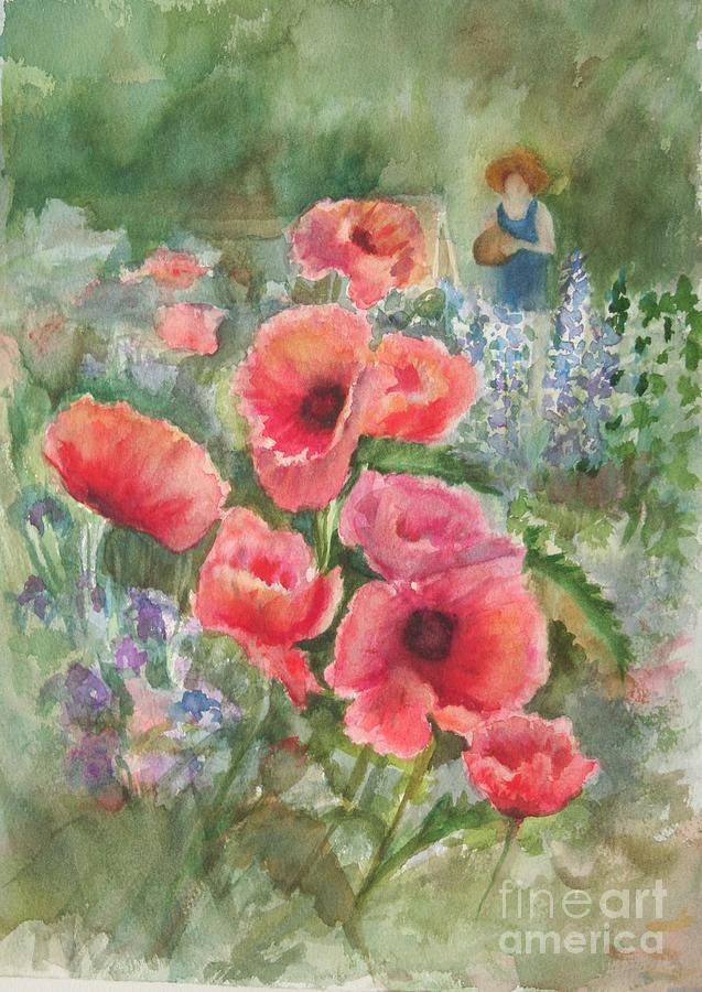 Watercolor Painting Painting - Artist In The Garden by B Rossitto