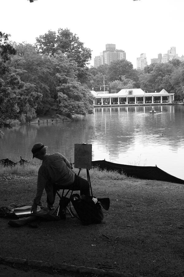 Boathouse Photograph - Artist Painting In Central Park by Christopher Kirby