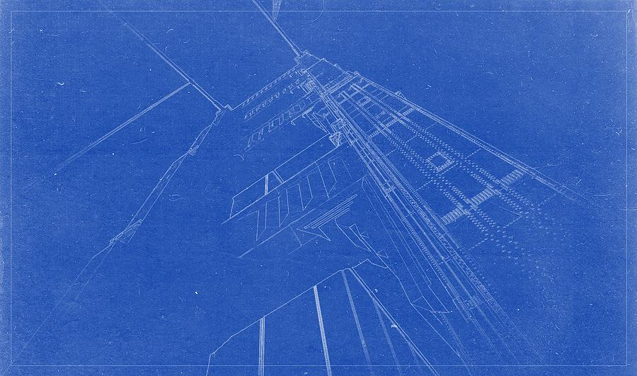 Artistic Architecture Blueprint Drawing   Golden Gate Bridge Painting By  Celestial Images