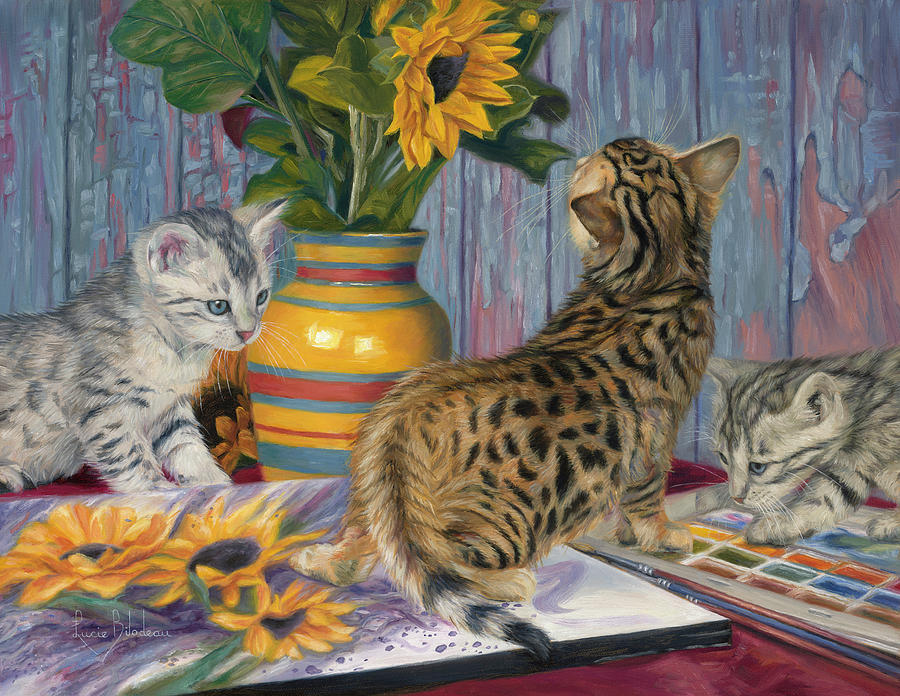 Cat Painting - Artistic Interest by Lucie Bilodeau