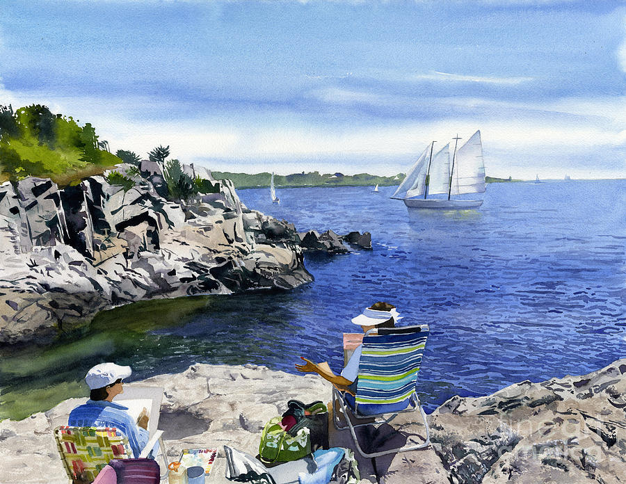 Jamestown Ri Painting - Artists And The View by Hollis Machala