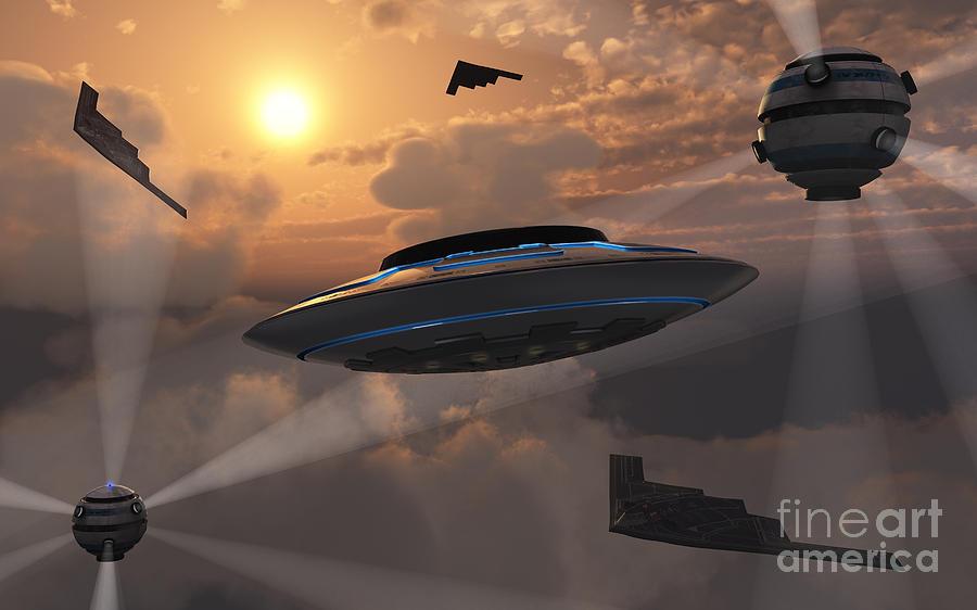 Medium Group Of Objects Digital Art - Artists Concept Of Alien Stealth by Mark Stevenson
