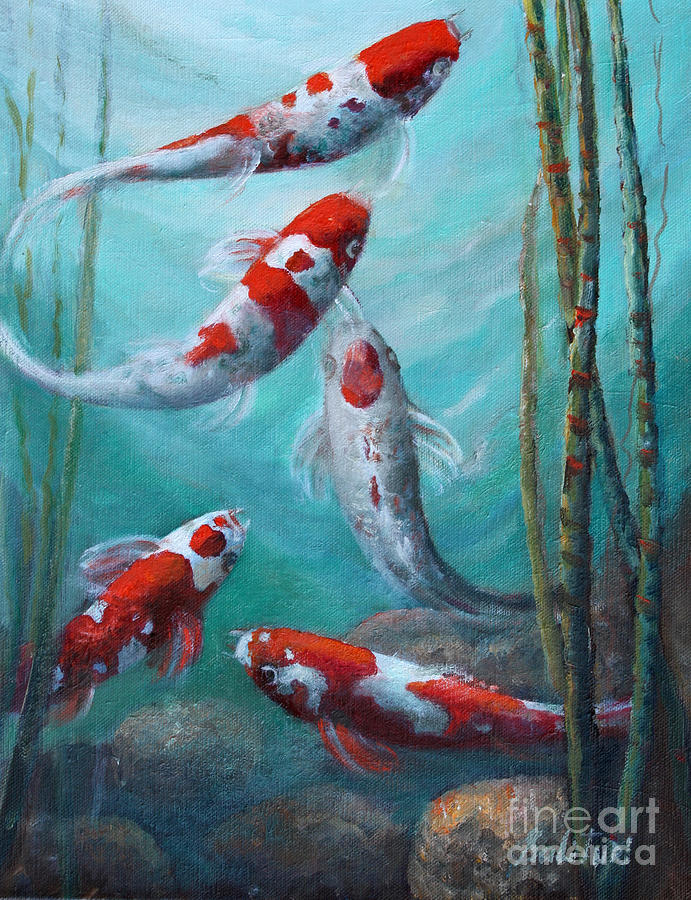 Koi Painting - Artists Pond Fish by Gail Salitui