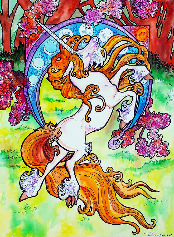 Unicorn Painting - Artsy Nouveau Unicorn by Jenn Cunningham