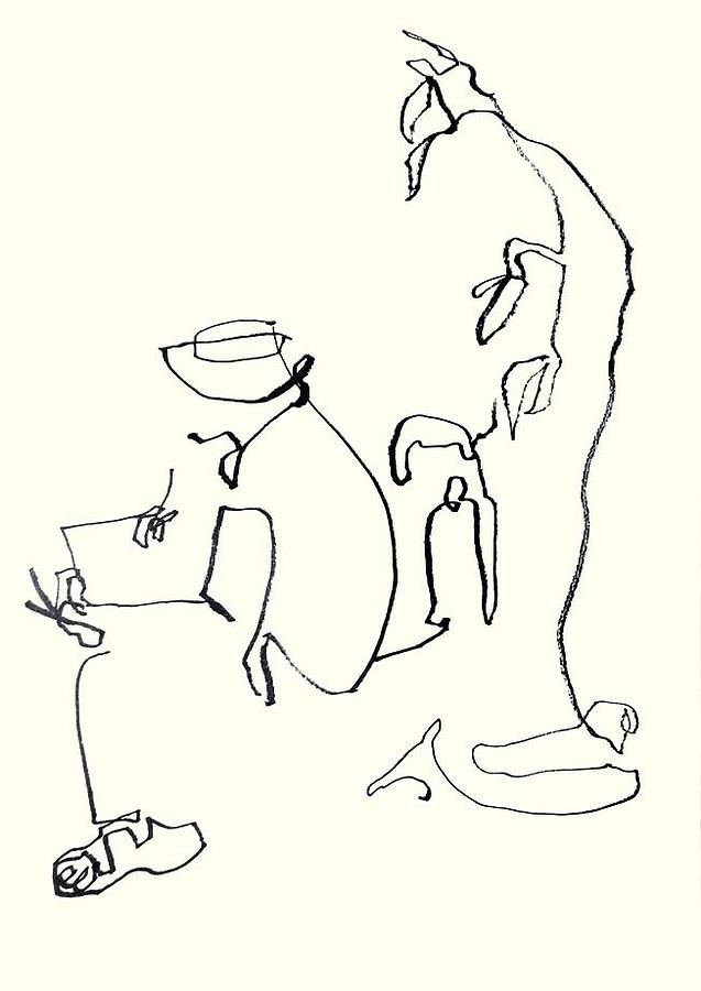 Drawing Drawing - Artwork At Leisure by Daniel David Talegaonkar