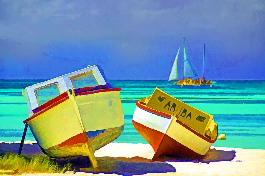Caribbean Photograph - Aruba Boats by Dennis Cox