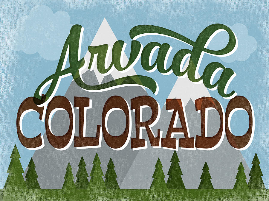 Arvada Digital Art - Arvada Colorado Snowy Mountains	 by Flo Karp