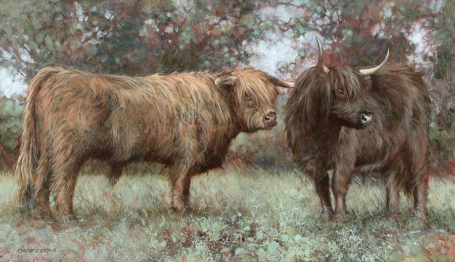 Longhorns Painting - As The Mist Clears by David Lyons