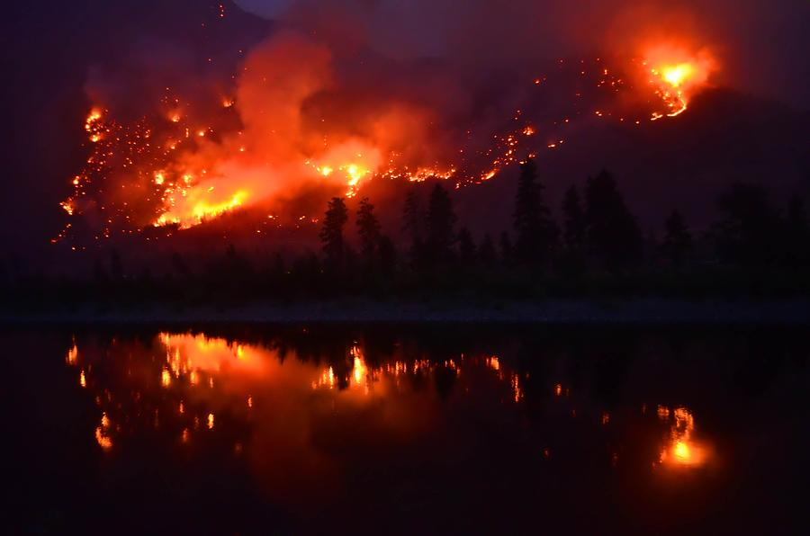 Fire Photograph - As The Mountain Burns by Tara Turner
