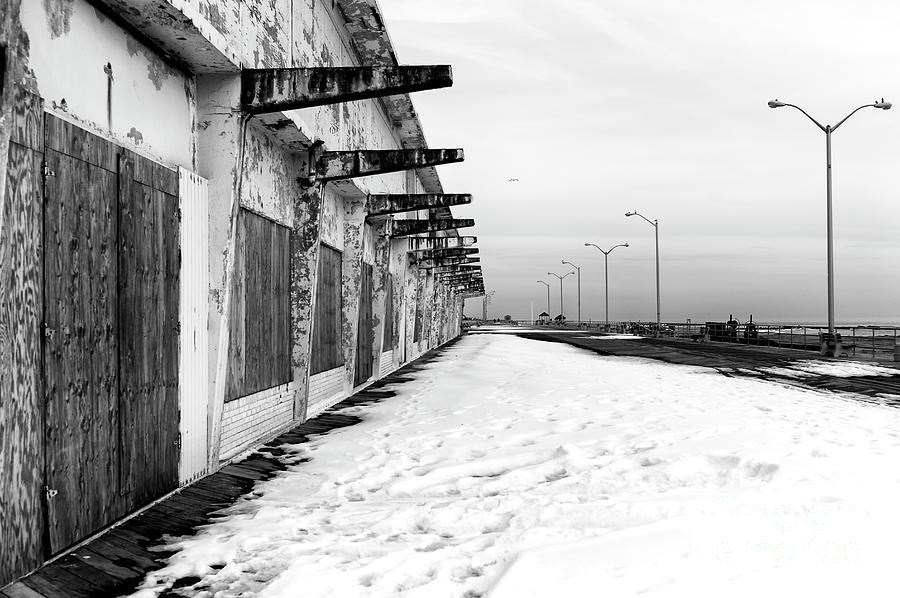 Boardwalk Photograph - Asbury Park Boardwalk Snow 2014 by John Rizzuto