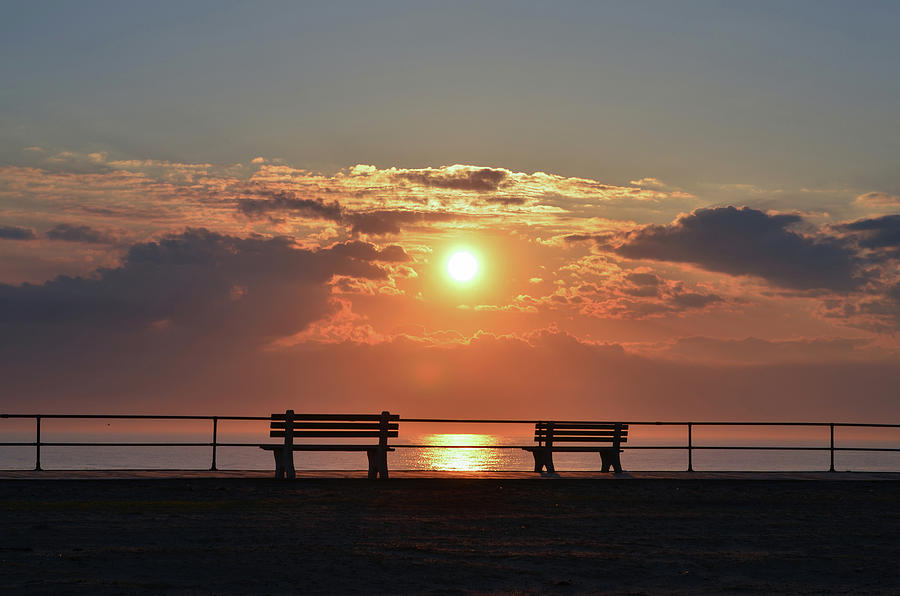 Asbury Photograph - Asbury Park On The Boardwalk At Sunrise by Bill Cannon