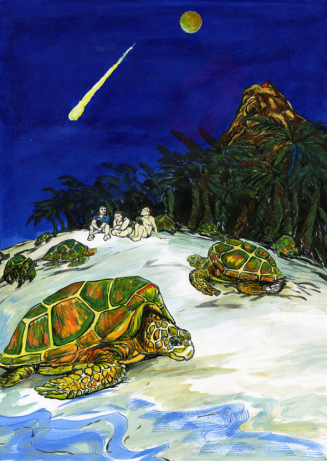 Beautiful Night On The Tropical Island With Turtles Painting - Ascension Island by Adam Robertson