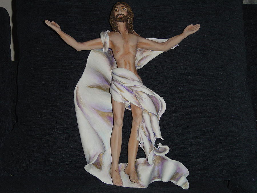 Christ Sculpture - Ascension by Rosie R Carrillo