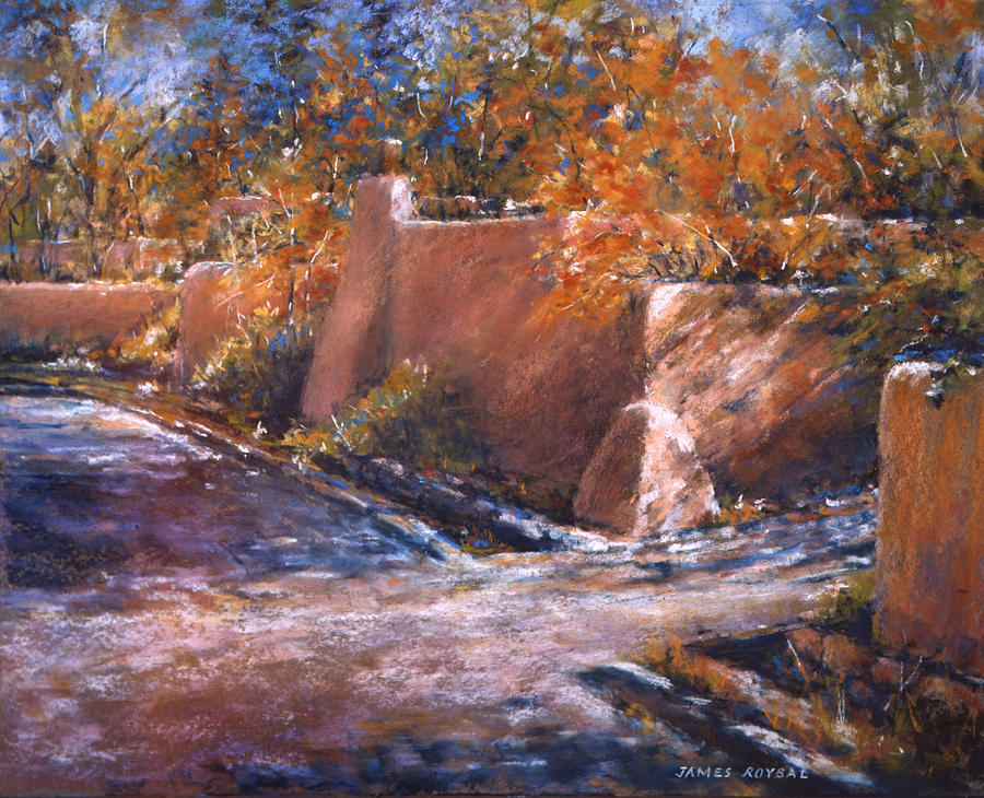 asequia Madre in Fall Painting by James Roybal