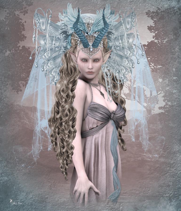 Fantasy Digital Art - Ashen Queen Of The Mountain 2 by Ali Oppy