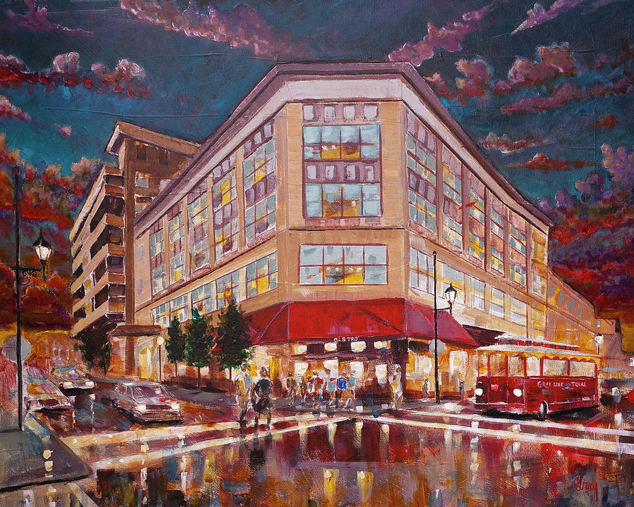 Asheville Cityscape At Battery Park Haywood Park Hotel Painting