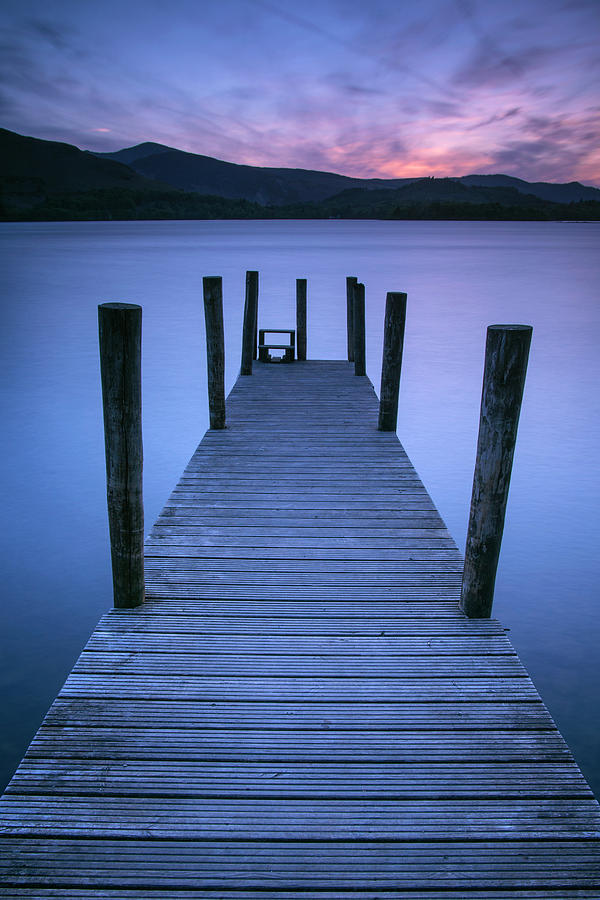 Sunset Photograph - Ashness Jetty, Derwentwater, England by David Stanley